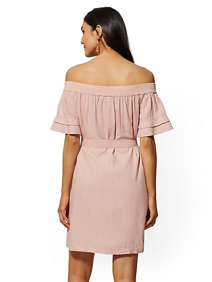 745e66953e8b ... Pink Linen Off-The-Shoulder Shift Dress - Soho Street - New York ...