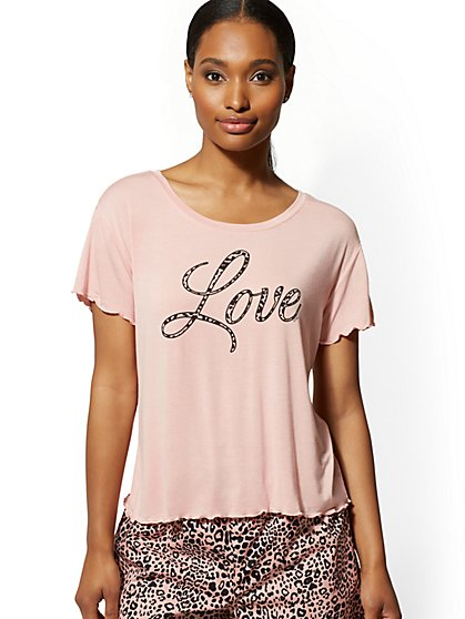 "Pink ""Love"" Sleep Tee - New York & Company"