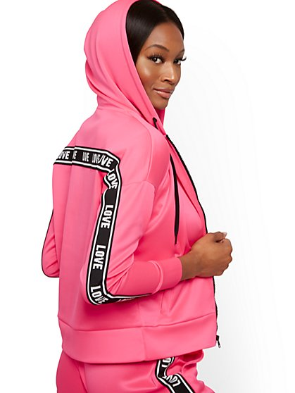 "Pink ""Love"" Zip-Front Hooded Jacket - Soho Street - New York & Company"