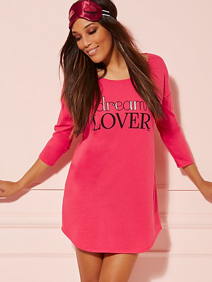 "Pink Metallic ""Dream Lover"" Sleep Dress - New York & Company"