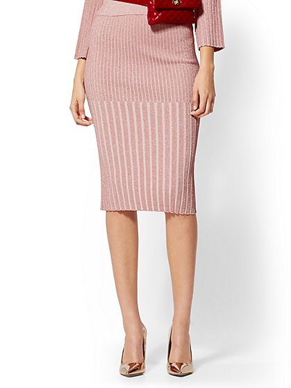 Pink Metallic Ribbed-Knit Sweater Skirt - New York & Company