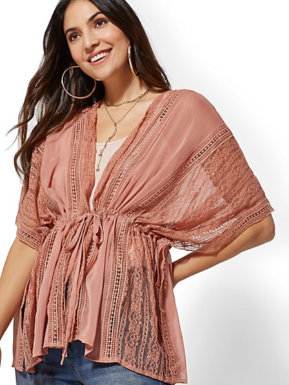 Pink Metallic-Stripe Kimono Jacket - New York & Company