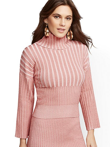 Pink Metallic Turtleneck Sweater - 7th Avenue - New York & Company