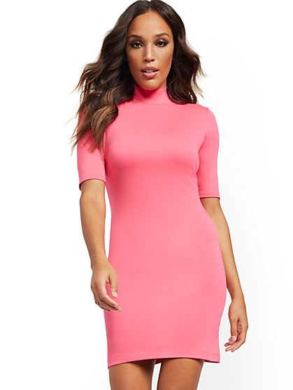 Pink Mock-Neck Shift Dress - New York & Company