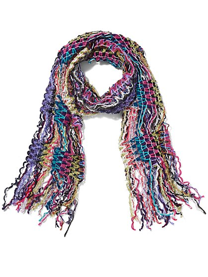 Pink Multi Yarn Fringe Scarf - Sweet Pea - New York & Company
