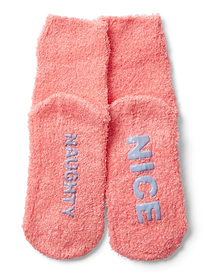 "Pink ""Naughty"" & ""Nice"" Cozy Sock - New York & Company"