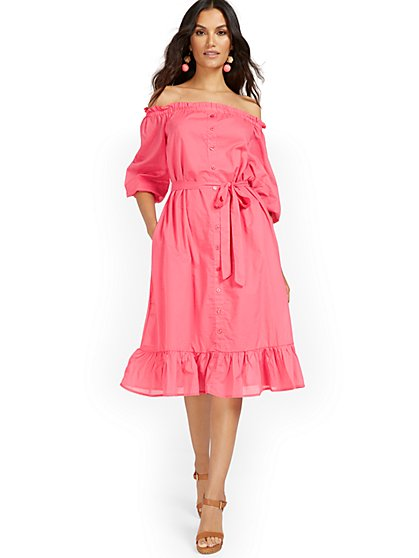 Pink Off-The-Shoulder Ruffle-Hem Dress - New York & Company