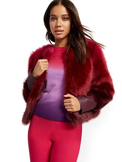 Pink Ombre Faux-Fur Crop Jacket - New York & Company