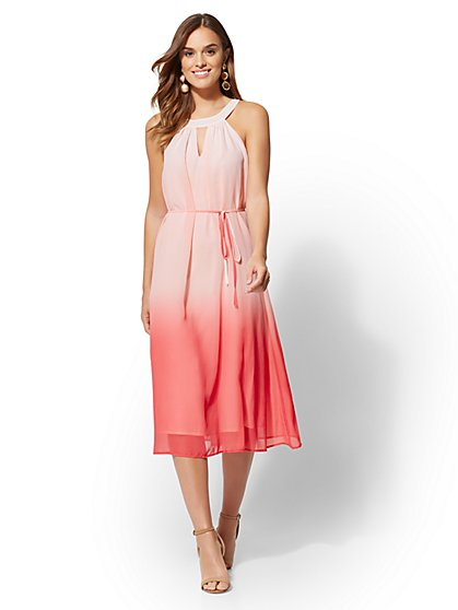 Pink Ombre Halter Midi Dress - New York & Company