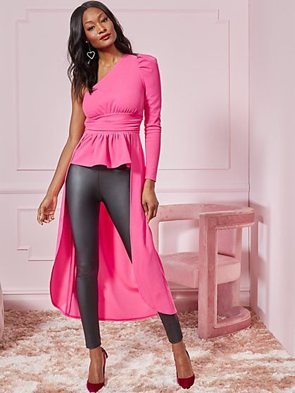 Pink One-Shoulder High-Low Top - New York & Company