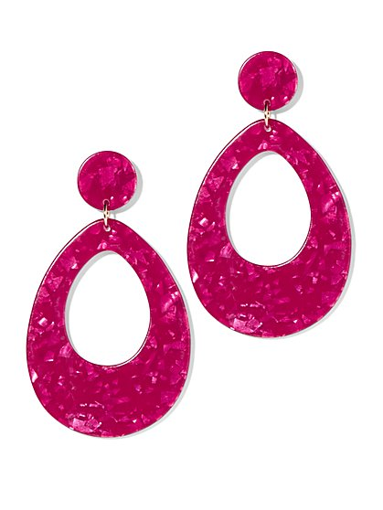 Pink Oval Drop Earring - New York & Company