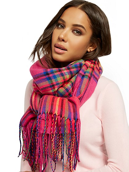 Pink Plaid Blanket Scarf - New York & Company