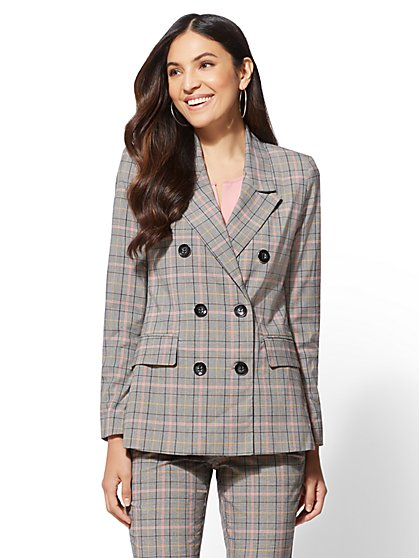 Pink Plaid Double-Breasted Jacket - 7th Avenue - New York & Company