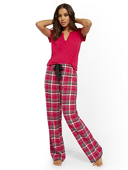 Pink Plaid Pajama Set - New York & Company