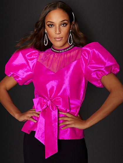 Pink Puff-Sleeve Blouse - New York & Company