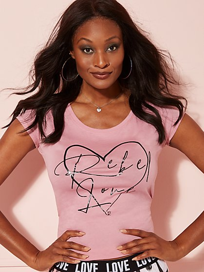 "Pink ""Rebel Love"" Graphic Logo Tee - New York & Company"