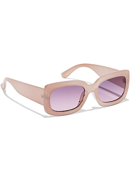 Pink Rectangular-Frame Sunglasses - New York & Company