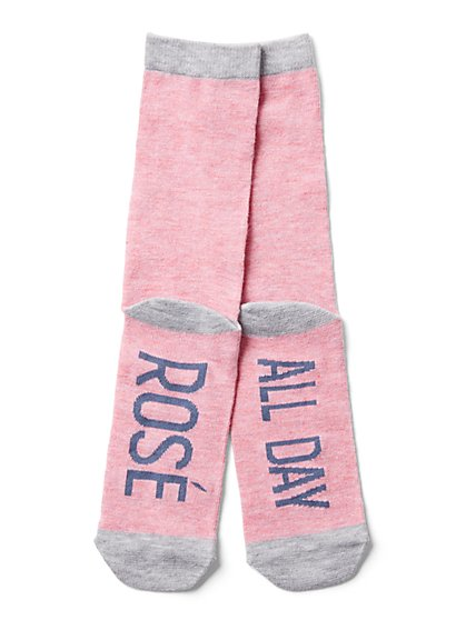 "Pink ""Rosé All Day"" Sock - New York & Company"