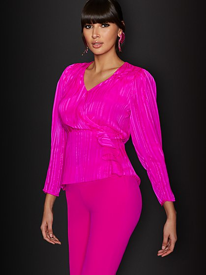 Pink Ruffle Wrap Blouse - New York & Company