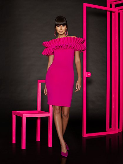 Pink Ruffled Sheath Dress - New York & Company