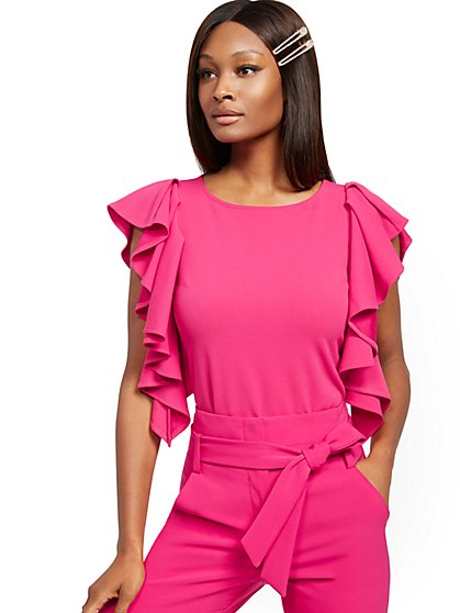 Pink Ruffled-Sleeve Statement Top - 7th Avenue - New York & Company