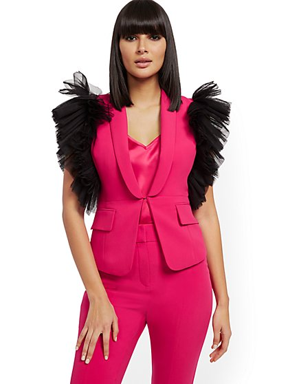 Pink Ruffled Vest - 7th Avenue - New York & Company