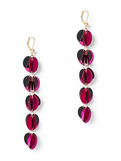 Pink Sequin Linear Drop Earring - New York & Company