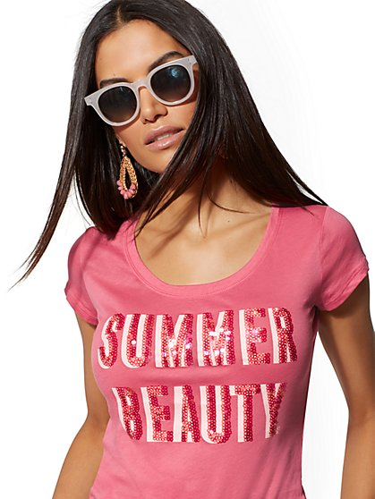 "Pink Sequin ""Summer Beauty"" Graphic Logo Tee - New York & Company"