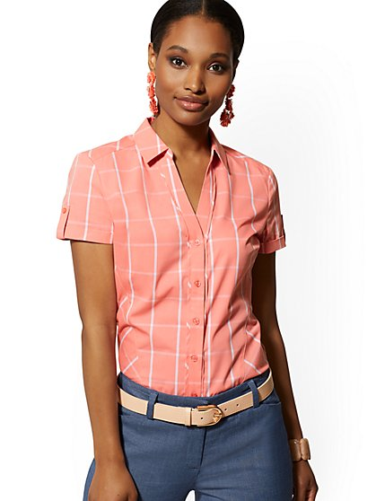 Pink Short-Sleeve Madison Stretch Shirt - 7th Avenue - New York & Company