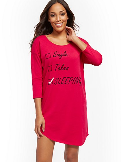 "Pink ""Sleeping"" Sleepshirt - New York & Company"