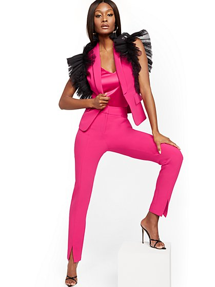 Pink Slit-Front Straight Slim-Leg Pant - 7th Avenue - New York & Company
