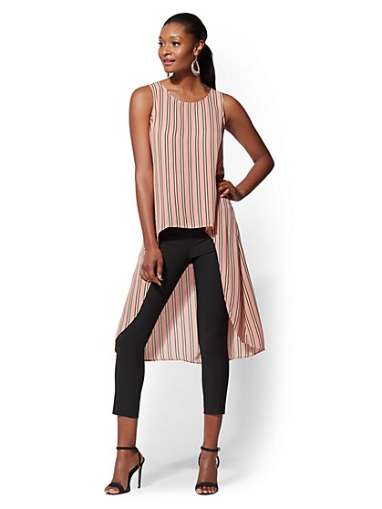 Pink Stripe Hi-Lo Blouse - New York & Company
