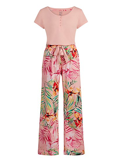 Pink Tropical-Print Pajama Set - New York & Company