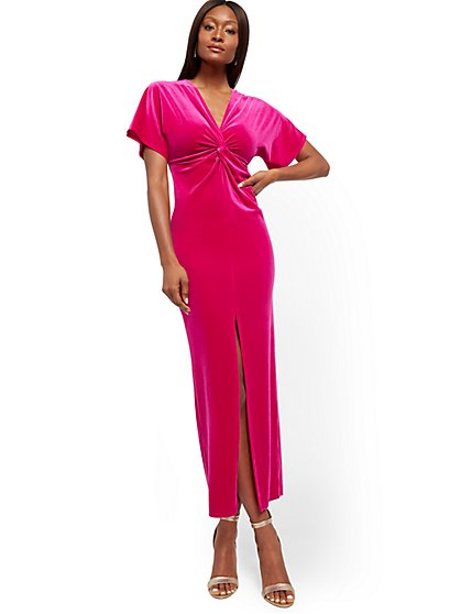Pink Velvet Maxi Dress - New York & Company