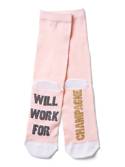 "Pink ""Will Work for Champagne"" Sock - New York & Company"