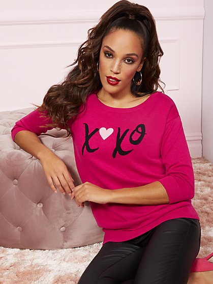 "Pink ""XOXO"" Tunic Sweater - New York & Company"