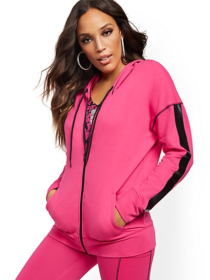 Pink Zip-Front Hooded Jacket - New York & Company