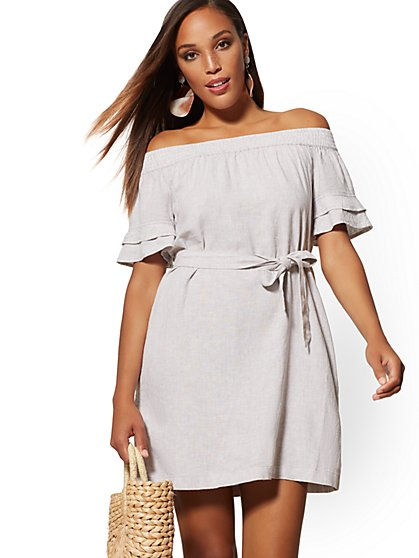 Pinstripe Linen Off-The-Shoulder Shift Dress - Soho Street - New York & Company