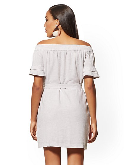 e83420efcd59 ... Pinstripe Linen Off-The-Shoulder Shift Dress - Soho Street - New York  ...