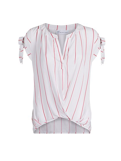 Pinstriped Split-Neck Blouse - New York & Company