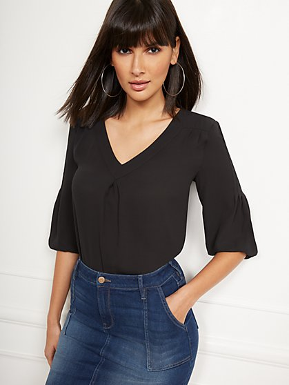 Pintuck V-Neck Top - Soho Soft Blouse - New York & Company