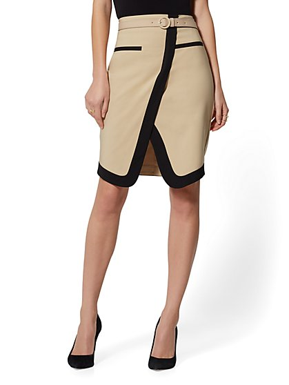 Piped Belted Pencil Skirt - All-Season Stretch - 7th Avenue - New York & Company