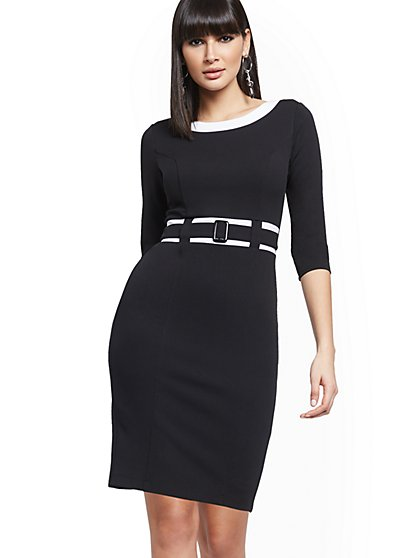 Piped Belted Sheath Dress - Magic Crepe® - New York & Company