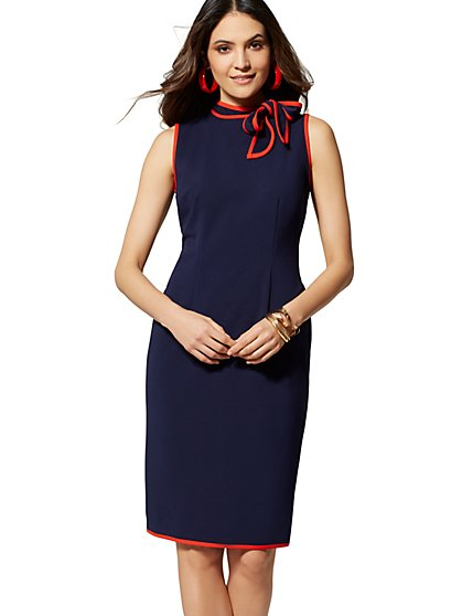 874be6c73c Piped Bow-Accent Sheath Dress - Magic Crepe - 7th Avenue - New York ...