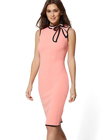 Piped Bow-Accent Sheath Dress - Magic Crepe - 7th Avenue - New York & Company