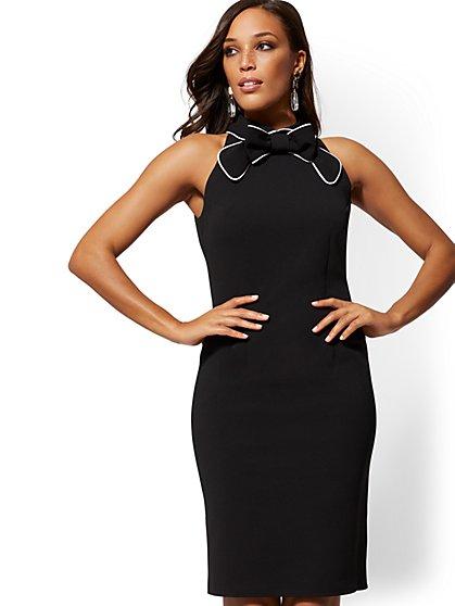 28188e65749 BLACK. NY Deal. Piped Bow-Accent Sheath Dress - Magic Crepe - New York    Company ...
