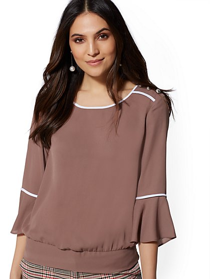 Piped Button-Accent Blouse - New York & Company
