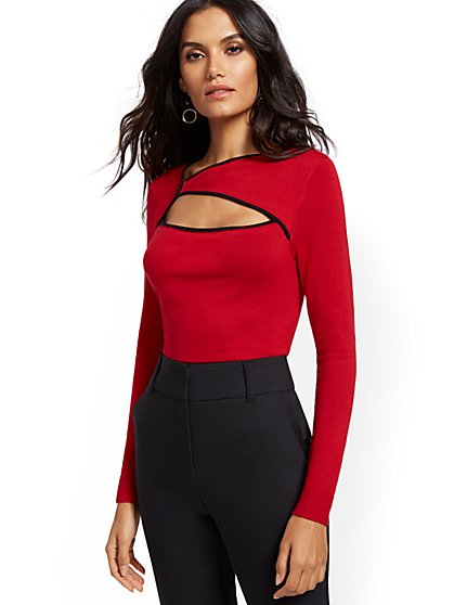 Piped Cutout Sweater - 7th Avenue - New York & Company