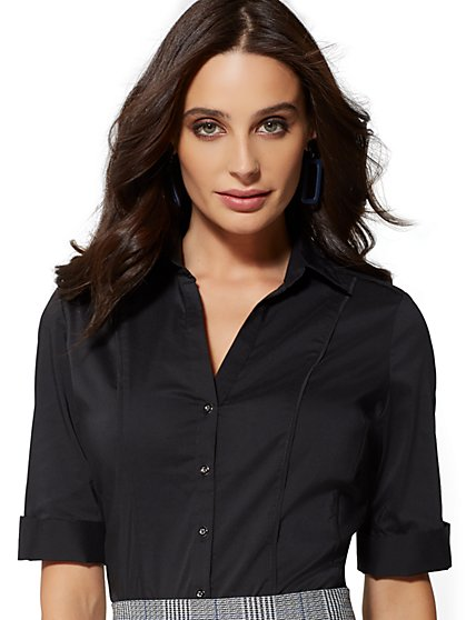 Piped Madison Stretch Shirt - Black - 7th Avenue - New York & Company