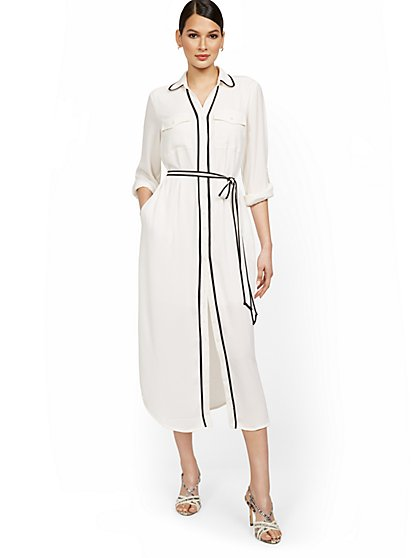 Piped Midi Shirtdress - New York & Company